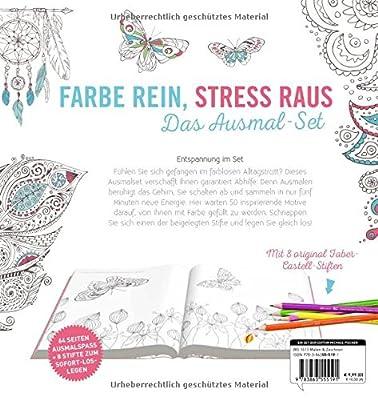 Kreativ-Set Farbe rein, Stress raus: Inspiration Traumreise: 50 Ausmalmotive für mehr Entspannung und Achtsamkeit: Buch mit 64 Seiten und 8 Faber-Castell-Buntstiften (Buch plus Material)