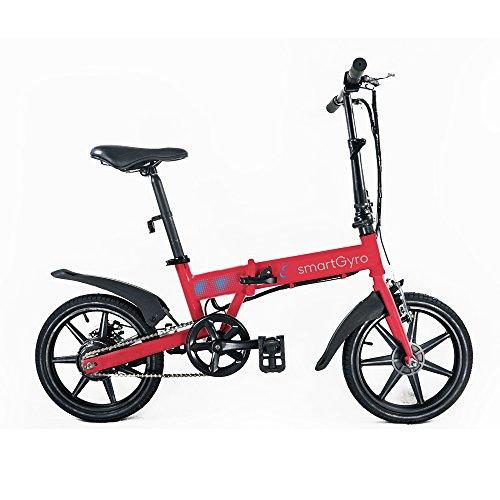 Smartgyro Ebike Red - Bicicleta Eléctrica Plegable con asistente al pedaleo, ruedas de 16',Batería de litio de 4400- 24v , color  rojo