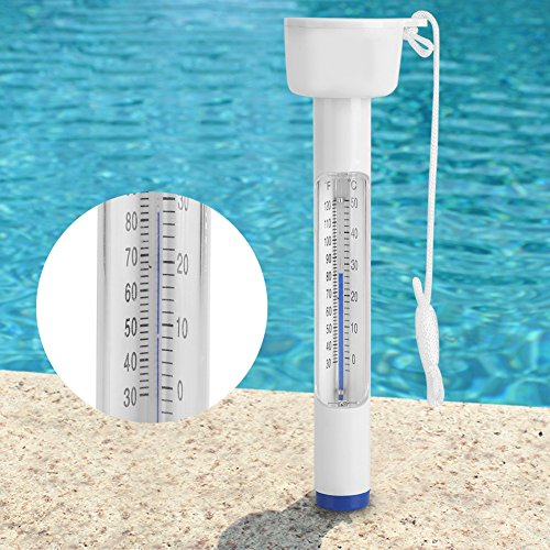 Jadpes Schwimmende Pool-Thermometer, groß mit Schnur Bruchsicher für Outdoor-Hallenbäder Spas Hot Tubs Fish Spa ℃ ℃