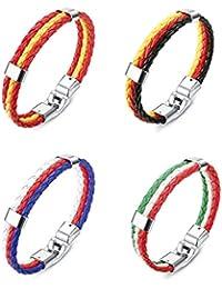 Besteel Bandera Nacional Pulseras de Cuero Trenzado para Hombres Mujeres Brazalete  Pulsera Deporte Francia España Alemania de1a8f3b0b9