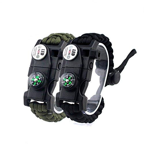 MansWill 2 Stück Einstellbare Überleben Armband, 7 Core Paracord 20 in 1 Notfall-Sport Zahnrad Satz Outdoor Survival Kit mit LED SOS Licht, Kompass, Rettungspfeife, Fire Starter für Wildnis Abenteuer