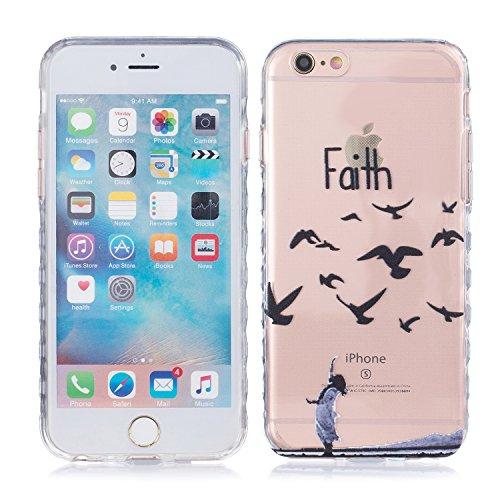 iPhone 6 Plus Hülle, E-Lush TPU Soft Silikon Tasche Transparent Schale Clear Klar Hanytasche für Apple iPhone 6/6S Plus(4,7 zoll) Durchsichtig Rückschale Ultra Slim Thin Dünne Schutzhülle Weiche Flexi Faith