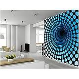 Finloveg Papel Tapiz De Arte 3D Personalizado, Murales Cgi De Blue Tunnel Para La Construcción De Apartamentos En El Fondo Del Vinilo De La Pared-250X175Cm