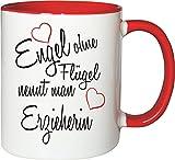 Mister Merchandise Becher Tasse Engel ohne Flügel nennt Man Erzieherin Kaffee Kaffeetasse liebevoll Bedruckt Beruf Job Geschenk Weiß-Rot