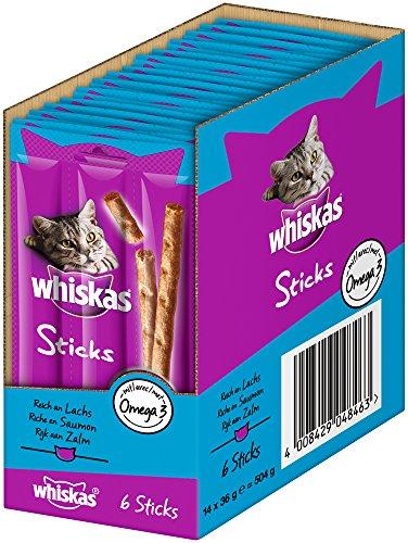 Whiskas Sticks Katzensnack Reich an Lachs, 14 Packungen (14 x 36 g)