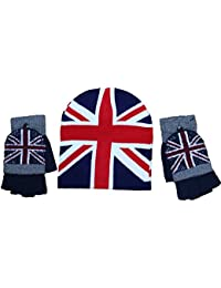 Unisex Women s Men s Gloves Fingerless Union Jack British Flag   Ski Beanie  Hats 14a17ad77d3f