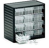 Treston 294-4ESD Kleinteilemagazin ESD-geschützt mit 12 ESD-Schubladen schwarz
