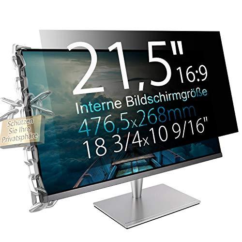 """Xianan 21,5"""" (16:9) Blickschutzfilter für Breitbild Monitor - 18,76x10,55"""" / 476,5x268mm Sichtschutzfolie Privacy Filter Displayfilter PC Blickschutzfolie"""