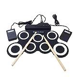 Pawaca Tragbares, faltbares MIDI-Trommel-Set, elektronisches Schlagzeug-Set mit integrierten Lautsprechern, Trommelstöcken, Fußpedalen und Netzteil für Übungsanfänger