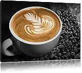 kratives Dekor auf frischem Kaffee schwarz/weiß Format: 60x40 auf Leinwand, XXL riesige Bilder fertig gerahmt mit Keilrahmen, Kunstdruck auf Wandbild mit Rahmen, günstiger als Gemälde oder Ölbild, kein Poster oder Plakat