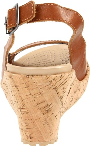 crocs A-leigh Wedge Leathe Damen Fashion-Sandalen Braun (Cocoa)