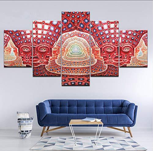 Leinwand Malerei Wandkunst R Hd Druckt 5 Stücke Psychedelic Face Bilder Werkzeug Alex GreyMusic Poster Wohnkultur ()
