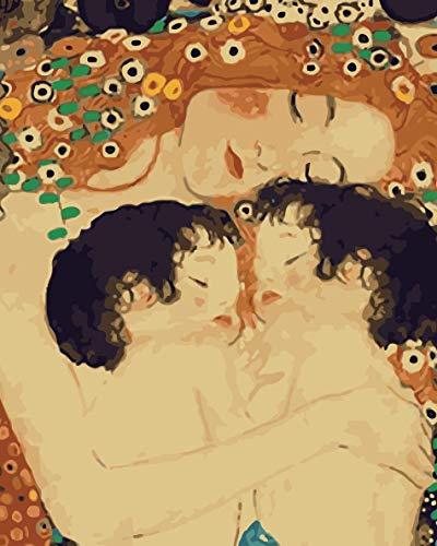 OKOUNOKO DIY Malerei by Zahlen Acryl Mutter Und Kind Wohnzimmer Art Gerahmt 40x50cm -