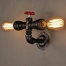 Aplique de pared de tubo de agua, SUN RUN Metal 2 cabeza Vintage Industrial pared luminaria con estilo retro para la barra, cocina, sala de estar y dormitorio, E26 Lámpara de socket