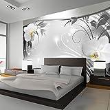 murando - Fototapete Blumen 350x245 cm - Vlies Tapete - Moderne Wanddeko - Design Tapete - Wandtapete - Wand Dekoration - Blume weiß grau silber Orchidee Ornament Abstrakt b-A-0078-a-b