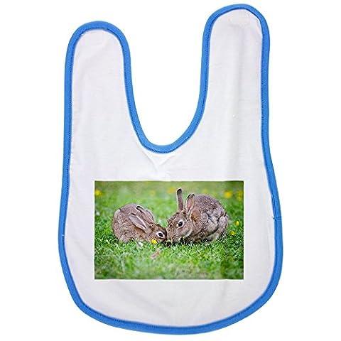 European Rabbits, Bunnies, Grass baby bib in blue