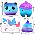 4 Pcs In One Galaxy Starry Jumbo Squishies Pack Including Galaxy Panda,Teeth,Emoji Poo,Unicorn Slow Rising Squeeze Kawaii Scented Charms Hand Wrist Toy