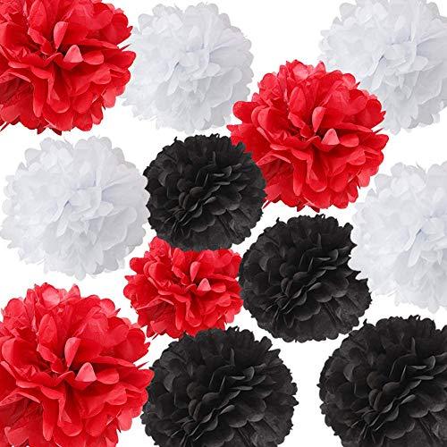 HappyField 12pcs Weiß Schwarz Rot Mischfarbe Seidenpapier Pom Poms Tissue Pom Pom Papier Blume Ball Dekoration Tissue Ball Papier Dekoration für Marienkäfer Geburtstag Party Kinderzimmer Dekor