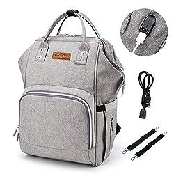 Baby Wickelrucksack Wickeltasche mit Wickelunterlage, 2 Kinderwagen-haken, USB-Lade Port, Große Kapazität, Multifunktional, Wasserdicht