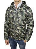 AK collezioni Giubbotto Piumino Uomo Mimetico Verde Militare Camouflage Giacca Giubbino Bomber Invernale (XXXL)