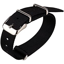 Black Nylon Fabric 18mm Width DIY Replace Watch Wristwatch Band Watchband