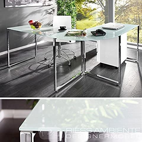Zi-Line Black or White Office PC Workstation With Tempered Glass Tops & Chrome Finished Steel Frame (WHITE)
