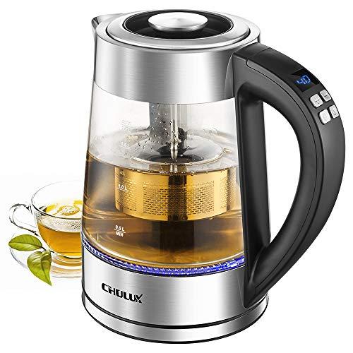 CHULUX Wasserkocher Glas, Teekocher, herausnehmbares Teesieb, Temperatureinstellung, Warmhaltefunktion, BPA-frei 1,7 Liter 2.200 Watt