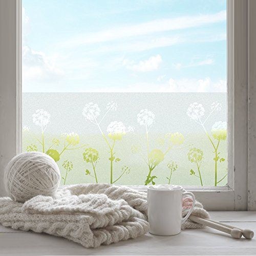 FANCY-FIX selbsthaftende Fensterfolie mit Löwenzahn-Motiv statische Sonnenschutzfolie - UV-Schutz & Sichtschutz - Milchglasfolie