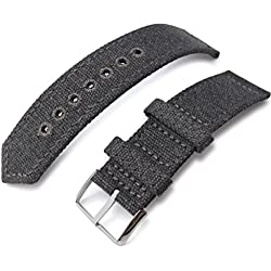 21mm MiLTAT WW2 Military Grey Washed Canvas Watch Band, lockstitch pin-hole, P