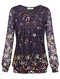 BaiShengGT Damen Übergröße Spitzen Rundhals Langarm Shirt Violett-Blumen Large