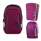satch Sleek Pure Purple 3-teiliges Set Rucksack, Triple Flex & Regenhaube lila