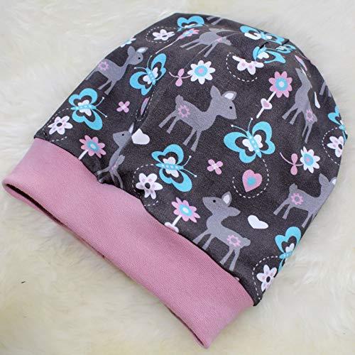 Kinder Mütze Beanie Rehe grau-rosa Kids Mädchen Frühjahr Übergangsmütze