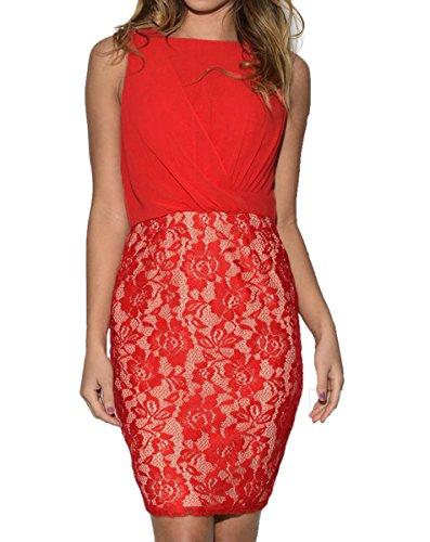 Dissa® FOB21925 femme Mini Robe de soirée Rouge