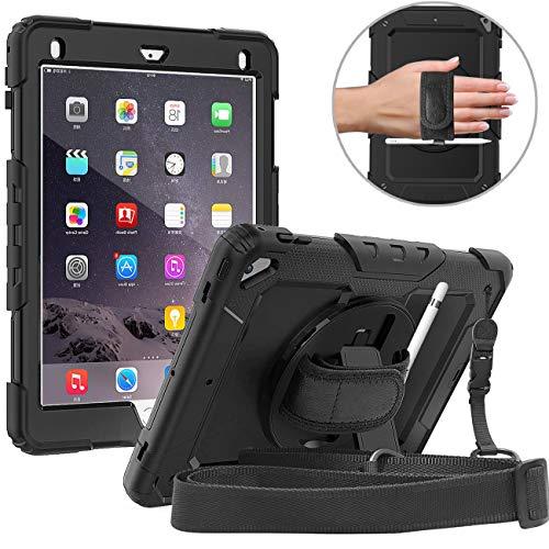 DAORANGE Hülle für iPad 9.7 Zoll 2018/2017 Modell, 3 in 1 Hybrid Shockproof Schutzhülle mit 360° drehbar Stand&Handschlaufe [Pencil Halter] für 9.7