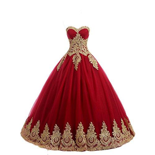 NUOJIA A Linie Prinzessin Quinceanera Kleid mit Gold Appliques Ballkleider Lang Festkleider Rot 36
