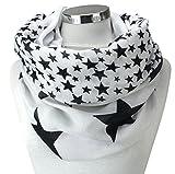 PiriModa XXL Damen Sterne Schal Leichter Schlauchschal Viele Farben (Weiss/Schwarz)