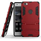Huawei P8 Lite Funda, Dokpav® Dura Rigida Ultrafina Casco Funda Cascara con soporte para Huawei P8 Lite - Rojo