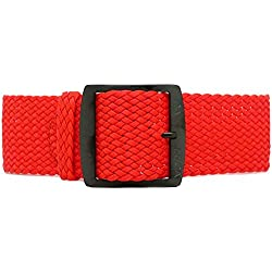 DaLuca Braided Nylon Perlon Watch Strap - Red (PVD Buckle) : 22mm