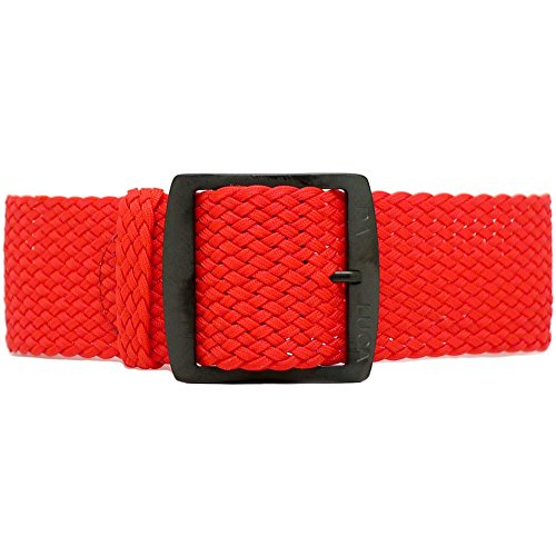 DaLuca Perlon braided nylon Perlon - Red watch strap (PVD buckle): 24 mm