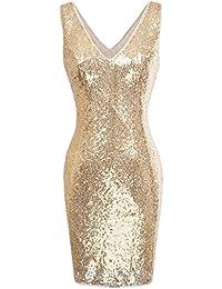 Kate Kasin Paillettes Vestito Donna Sequin Moda da Sera Festa Sexy Scollo a  V Pailettes Mini Club Vestito da Festa… ad1ae564c64