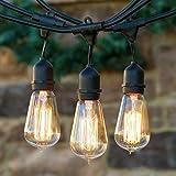 Lichterkette mit 15 Glühlampen Garten Außen- und Innenbereich 50 ft mit E27 Vintage Retro Edison Glühlampe, End-to-End - CE Listed Wasserdicht