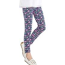 Covermason Niña Moda Multicolor Punto y Flores Impresión Leggings Elástico Pantalones para 2-13 AñosChicas