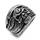 Adisaer Ring Männer Türkei Silberring Herren Punk Schwarz Silber Kreuz mit Schädel 81