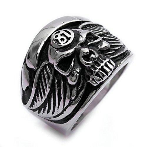 Adisaer Ring Herren Edelstahl Punk Ringe Schwarz Silber Kreuz mit Schädel
