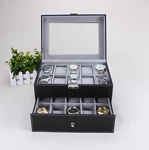 revesun-black-watch-display-case-with-key-lock-clear-glass-top-20-watch-holders