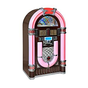 50er jahre retro jukebox mit led nostalgie beleuchtung. Black Bedroom Furniture Sets. Home Design Ideas