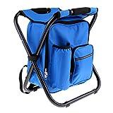 perfk Faltbarer Sitzrucksack Rucksack Stuhl Camping Hocker mit Kühltasche, 3 in 1 Multifunktions - Blau