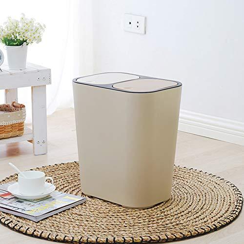 GWW Kunststoff drücken Überdeckungstyp Mülleimer,Rechteck dual Recycling Müllbehälters Großer 12l hubraum Abfallbehälter Mit herausnehmbaren fächern für zuhause-B 29x21x33cm(11x8x13inch)