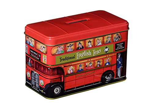 """English Tea, """"London Red Bus Tea Tin"""" Traditional English Afternoon Tea in Iconic London Red Double Decker Bus Money Box - HR10"""