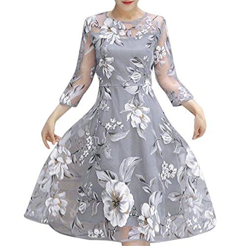 Moonuy,Frauen Knie-Länge Kleid, 2018 Sommer, Frühling Schlank Organza Blumendruck Hochzeitsfest Ball Abendkleid Cocktail O-Neck Dreiviertel Fit und Flare Dress (EU 40 / Asien XL, Grau)
